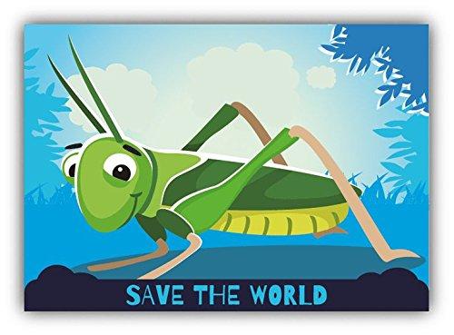 save-the-world-grasshopper-cartoon-animal-greenpeace-slogan-sticker-decal-design-5-x-4