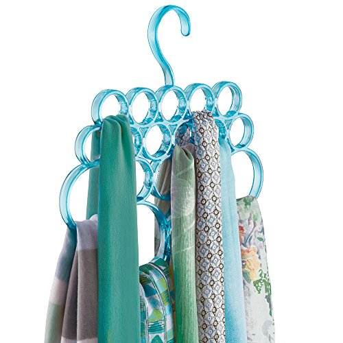 mDesign Closet Organizer Scarf Hanger, No Snag Storage for Scarves, Ties, Belts, Shawls, Pashminas, Accessories - 18 Loops, Aqua
