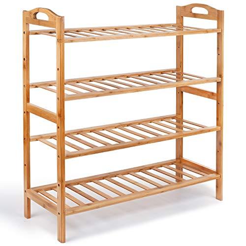 (NOVA JUNS Bamboo 4-Tier Shoe Rack, Shoe Shelf Storage Organizer for Entryway Hallway Bathroom for Boots Heels Bag, Natural)