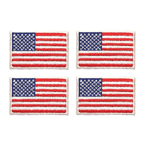 ID #1048 Lot of 4 American USA National Flags Patriotic Iron On Applique ()