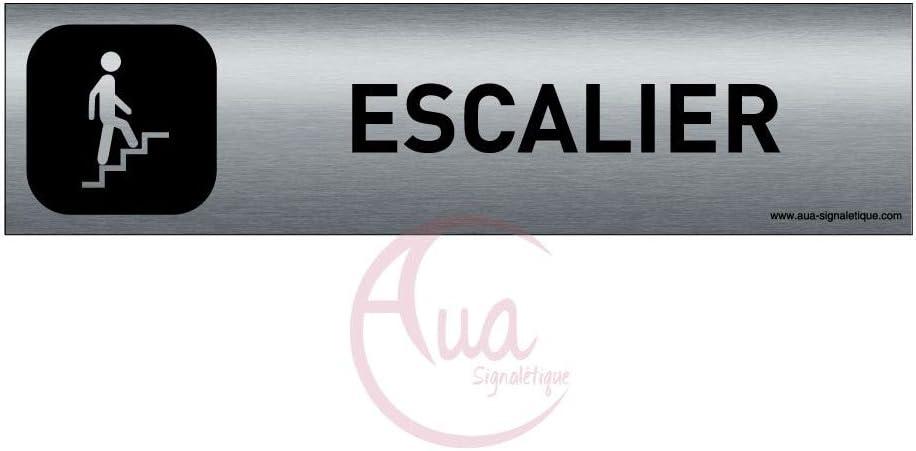 AUA SIGNALETIQUE Escalier montant Plaque de porte Aluminium bross/é imprim/é AluSign DARK 200x50 mm Double Face adh/ésif au dos