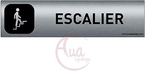 Double Face adh/ésif au dos Poussez la porte Plaque de porte Aluminium bross/é imprim/é AluSign DARK 200x50 mm AUA SIGNALETIQUE