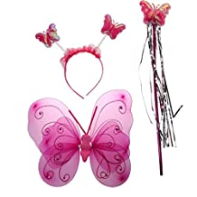 Generic Fairy Princess Kid Costume Sets Girls Butterfly Wings Wand Headband - Rose Red