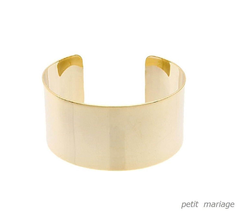 Amazon.co.jp|petit mariage[ペティーマリアージュ] プレート デザイン バングル ブレスレット (gold)|ジュエリーストア オンライン通販