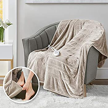 Heated Throw Blanket w/ Foot Pocket Keeps Toes Toasty   UL Certified & Low EMF Radiation   Lower Power Bill & Relieve Sore Muscles/Joints - Tucked Power Cord - 3 Heat Settings, 50x62