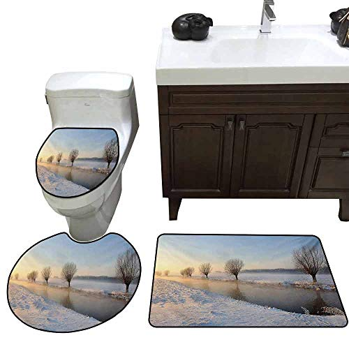Large Contour pad 3 Piece Set Winter Snowy River Landscape Barren and Frosted Trees Dutch Netherlands Europe Photograph Custom Made Rug Set Multicolor