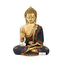 CraftVatika Large Medicine Buddha Brass Statue - Blue Stone Buddhism Shakyamuni Idol Decor Sculpture