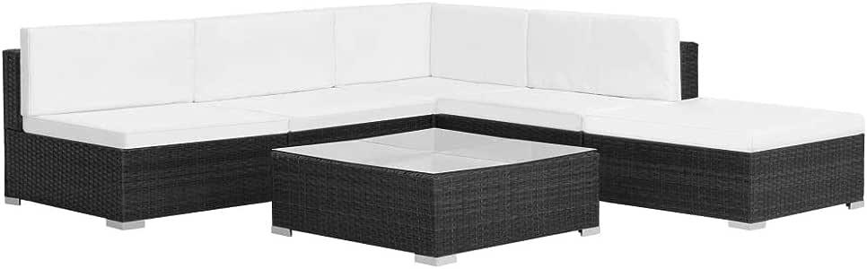 Festnight 16 Piezas Conjunto de Sofás de Jardín de Ratán Sintético Patio Set de Muebles Negro: Amazon.es: Hogar