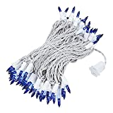Novelty Lights 100 Light Blue Christmas Mini Light Set, White Wire, 50' Long
