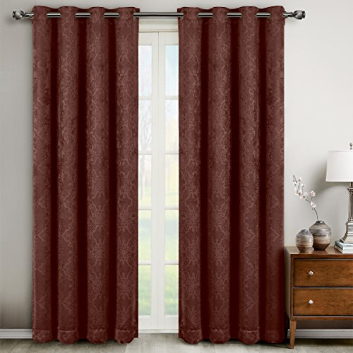 Cheap Bella Chocolate Grommet Blackout Weave Embossed Window Curtains Drapes, Pair / Set of 2 Panels, 52×63 inches Each, by Royal Hotel