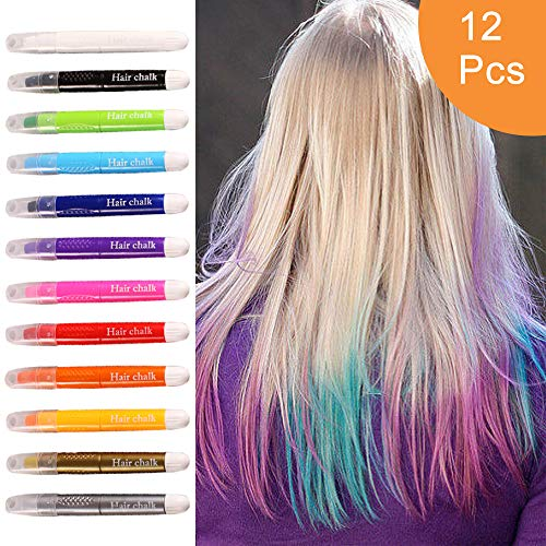 Temporary Hair Chalk Pens 12 Colors, Washable Non-Toxic Hair Color Safe for Kids & Teens, Makes a Great Gifts For Girls