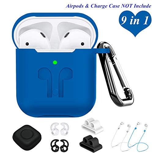 AirPods Case Compatible Apple Airpods 2&1, 9 in 1 Airpods Accessories Kits Protective Silicone Cover and Skin with Earpods Watch Band Holder/Ear Hook/Strap/Clip/Keychain/Grip[LED Visible]-Navy Blue