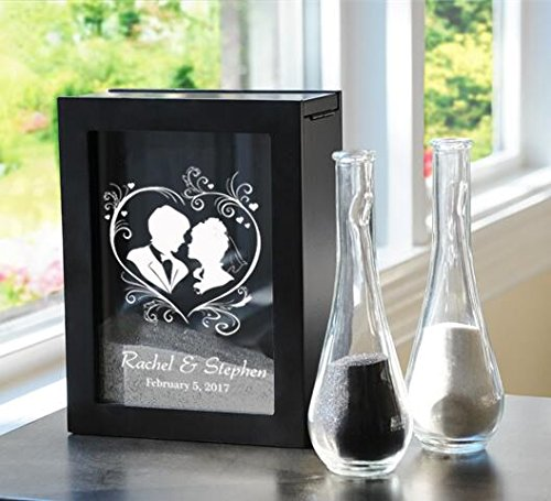 Framed Shadow Box (Personalized Black Wedding Unity Sand Ceremony Shadow Box Set with Heart Framed Bridal Couple)