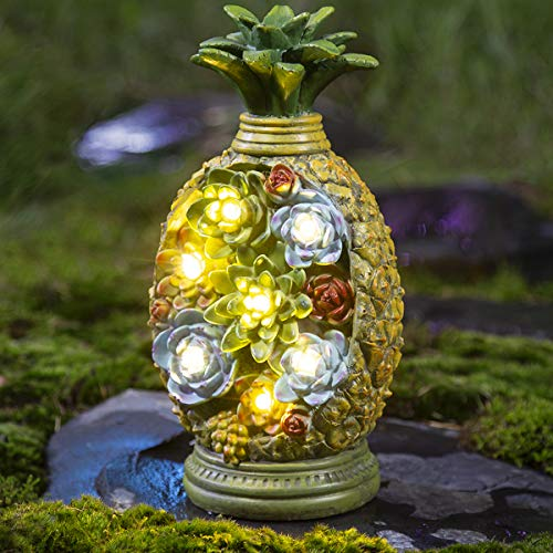 GIGALUMI Pineapple Garden Figurines and Statues Solar, Outdoor Resin Succulent Plants with 7 LED Decor Figurine Solar Statues for Garden, Lawn, Patio, Yard, Patio, Walkway or Driveway.