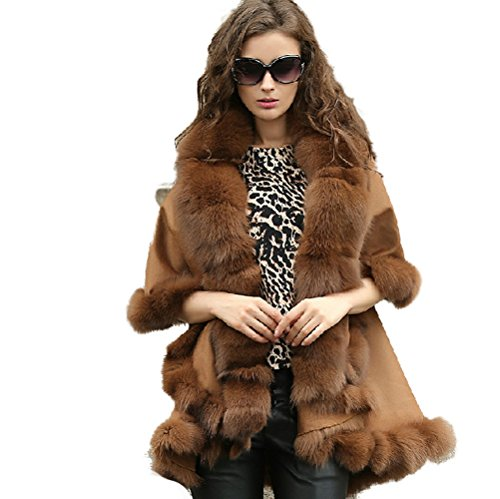 Real Cashmere Wool Coat Poncho Genuine Fox Fur Trim all around Double Cape (Genuine Real Fox)