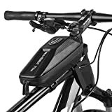 Elegant Choise Bike Frame Bag, Waterproof Bike Top Tube Bag Bicycle Bag Cycling Frame Pack with Double Zipper Design (Black)
