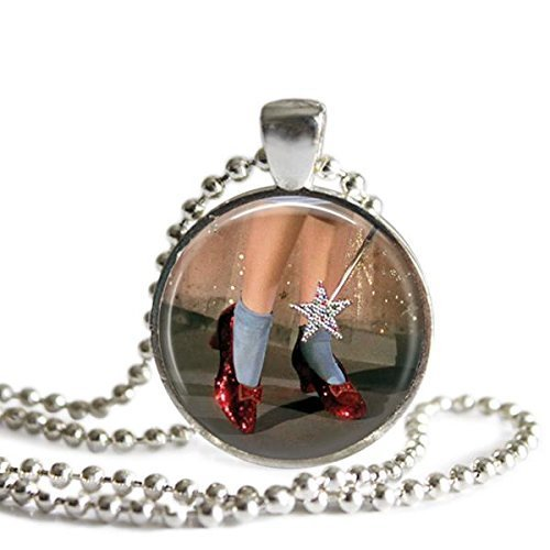 Dorothy Ruby Red Slippers Wizard of Oz 1 Inch Silver Plated Pendant Necklace
