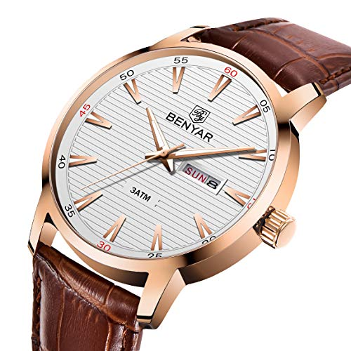 BENYAR Chronograph Waterproof Watches Business Leather Band Strap Wrist Watch with Date...