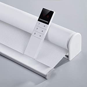 Motorized Blinds with Remote (23-95 inches) Window Roller Shade Wireless Rechargeable Motor Popular Sunshine Fabric for Office and Home Customize Size (Full Blackout White)