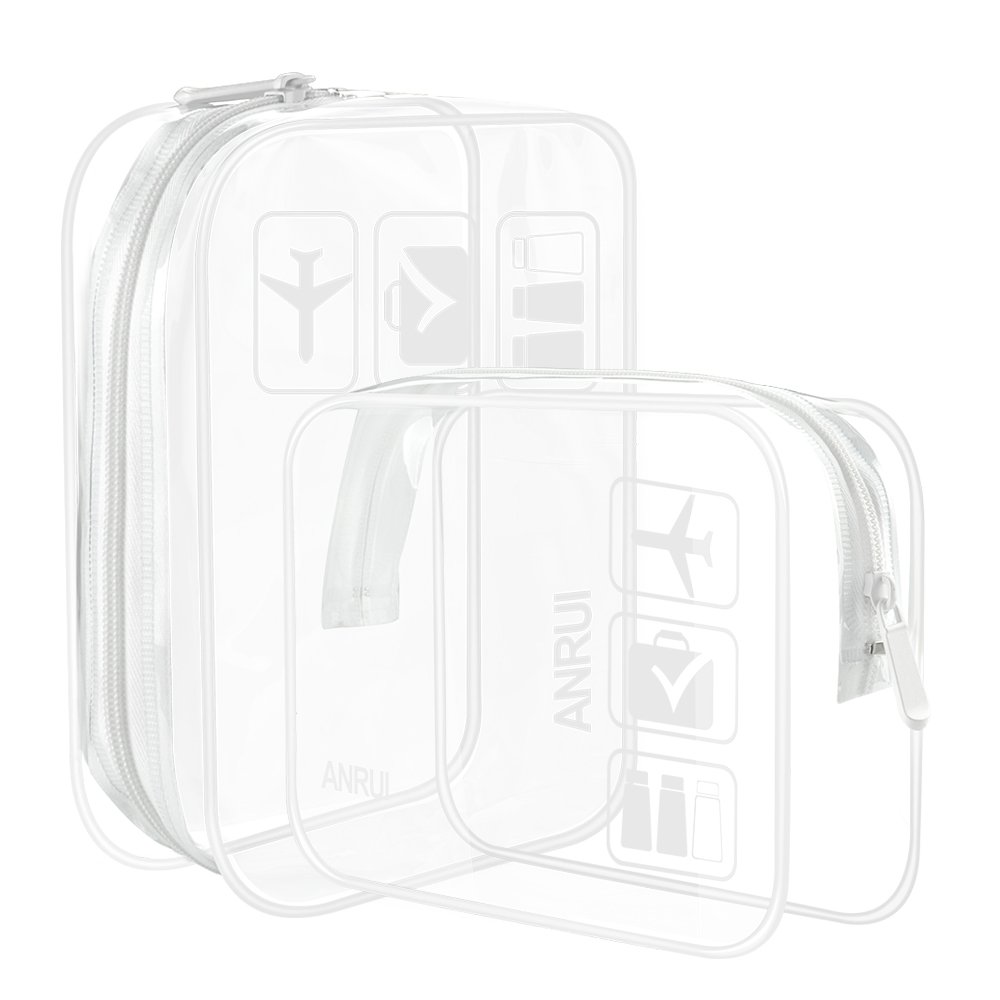 4aff0cddc911 (2 Pack) Clear Toiletry Bag TSA Approved Travel Carry On Airport Airline  Compliant Bag