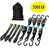 Sunferno Ratchet Straps Tie Down 3300Lbs Capacity, 15 Foot - Exceptionally Heavy Duty to Safely Move your Motorcycle and Cargo - Includes 4 pack Soft Loop Straps - Black (4 pack)