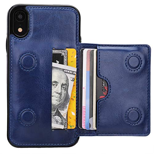 KIHUWEY iPhone XR Wallet Case Credit Card Holder, Premium Leather Kickstand Durable Shockproof Protective Cover iPhone XR 6.1 Inch(Blue)