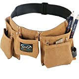 Real leather kids tool belt - woodworking gift set with children's belt pouch and two blue carpenter pencils