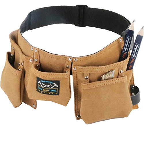 Young Builder leather kids tool belt set - children's tool pouch with leather hammer loops and carpenter pencils (Model Kids Furnitures)