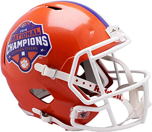 Sports Memorabilia Riddell Clemson Tigers College Football Playoff 2018 National Champions Logo Speed Replica Helmet - College Replica Helmets