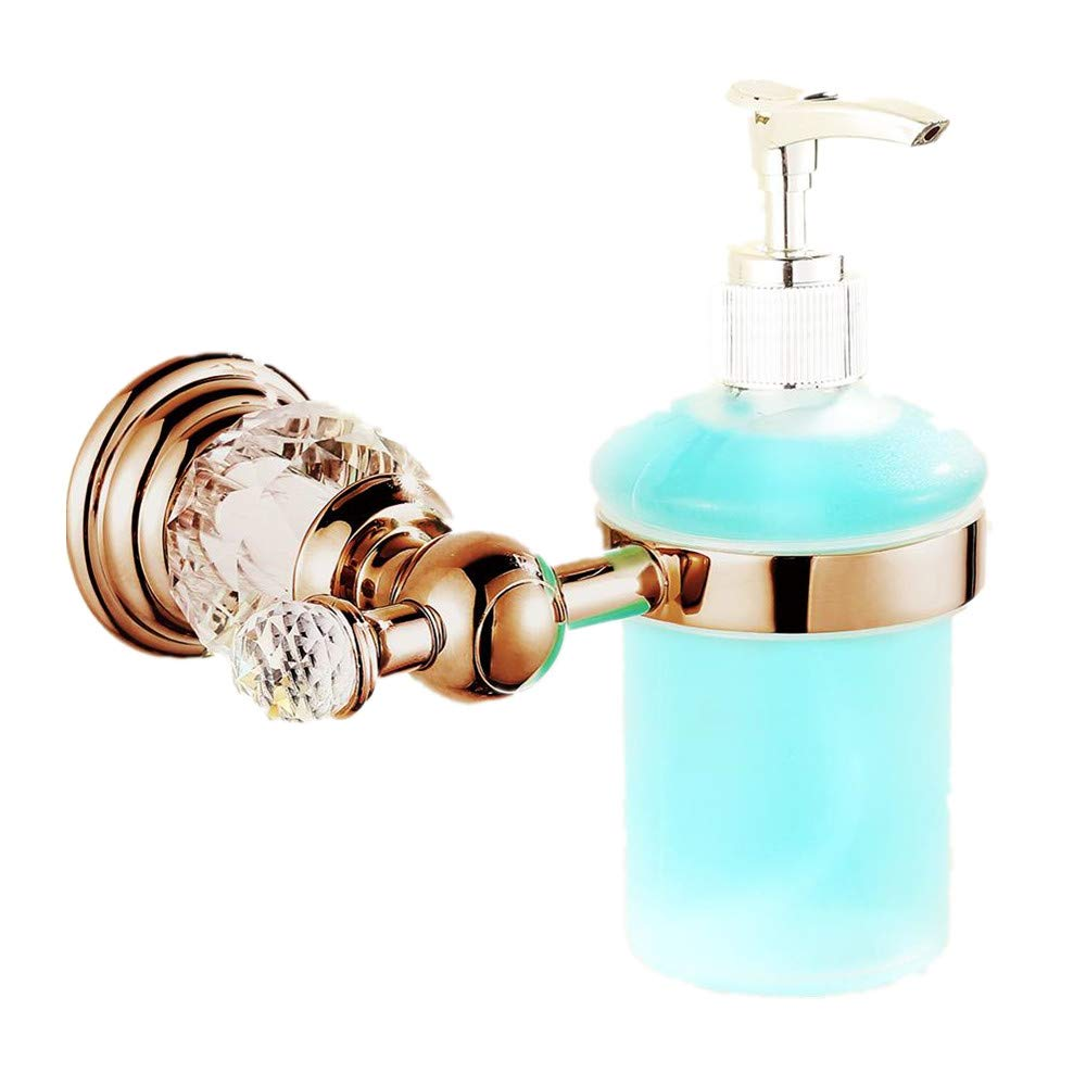 AUSWIND Brass Chrome Liquid Soap Dispenser Bathroom Lavatory Lotion Dispenser with Glass Bottle Pump Head with Crystal Wall Mount (Rose Gold)