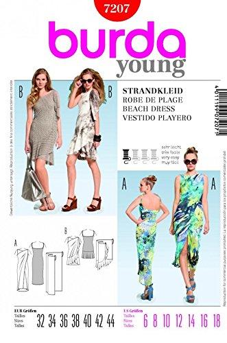 Burda Ladies Easy Sewing Pattern 7207 - Wrap Beach Dresses Sizes: 6 ...
