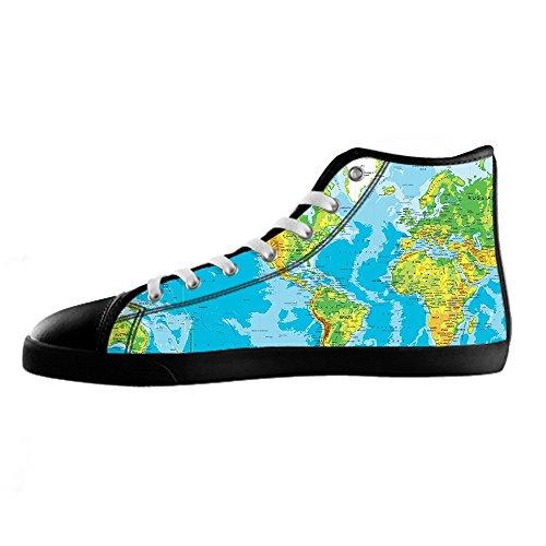 Custom Mappa del mondo Womens Canvas shoes I lacci delle scarpe scarpe scarpe da ginnastica Alto tetto