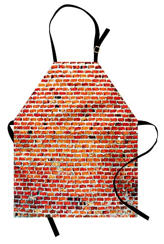 Grunge Halloween Costume (Lunarable Brick Wall Apron, Vibrant Brick Wall with Bricks and Grunge Style Vintage Rampart Pattern Print, Unisex Kitchen Bib with Adjustable Neck for Cooking Gardening, Adult Size,)