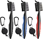 3 Pack Golf Club Brush Groove Cleaner, Dual Sided Nylon and Steel Brush with Spike Ergonomic Design Retractabl