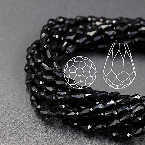 Pukido Crystal Drop Beads 3x5/6x8/8x12/10x15mm Red Miyuki Teardrop Glass Beaded Felting Balls Make Necklaces Dress Trims and Rhinestone - (Color: Black, Item Diameter: 8x12mm ()