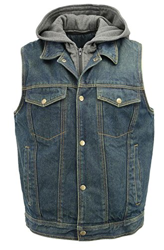 Men's Denim Vest | Removable Hoodie, Concealed Gun Pockets, Shirt Collar | Rustic and Casual Blue Jean Biker Vest (Blue, 3X-Large)