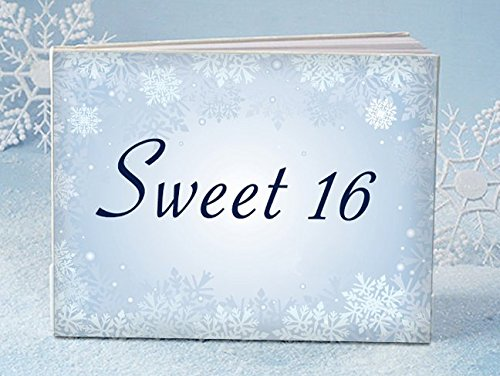 Winter Sweet 16 birthday reception guest book - 1 - Snowflake Guest Book