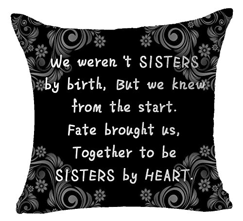 Throw Sister Pillow (Best Sisters Gift Retro European Totem Sweet Quotes We Weren't Sisters By Birth Together To Be Sisters By Heart Cotton Linen Decorative Throw Pillow Case Cushion Cover Square 18 'X18 ' Inches)