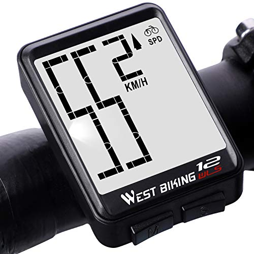 Bicycle Computer Wireless Speedometer, Big Number Display Waterproof Automatic Wake-up Stopwatch with LCD Backlight, Speed Distance Time Measure Temperature Consumption Cycling Accessories (Best Bike Computer For Mountain Biking)
