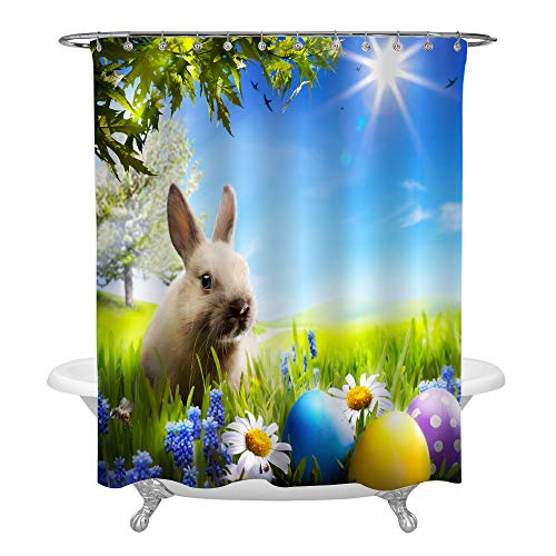 MitoVilla Cute Rabbit in Grass with Coloured Easter Eggs Enjoy Spring Time Shower Curtian for Bathtub, Waterproof Polyester Fabric Decorative Bath Accessories with Hooks, Black, 72 x 72 Inch