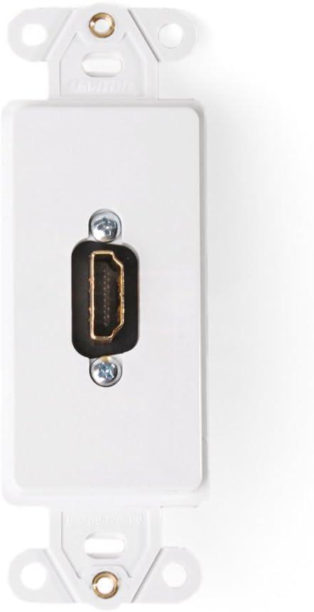 White Leviton 41647-W Decora Insert HDMI Wallplate