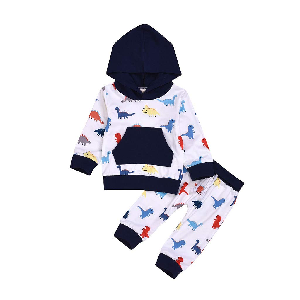 Kids Boy Girl Cartoon Hoodie Coat Shirt Pants Children Warm Outfit Set Clothes