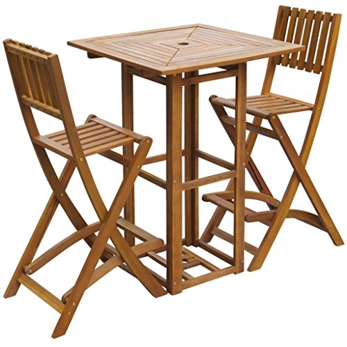 Tidyard 3 Pieces Outdoor Bar Set and Folding Bar Chairs with Footrests Space Saving Dining Set Garden, Patio with Parasol Hole Acacia Wood 29.5