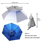 Magideal Outdoor Umbrella Hat Head Cap Brolly for Fishing Camping Hiking Silver Blue