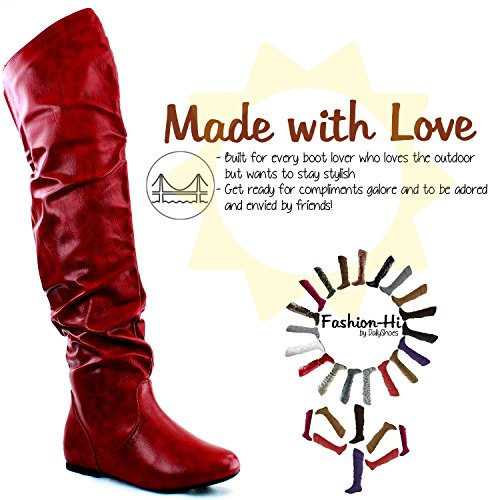 US Thigh the PU Red Hi Knee High Fashion Boots DailyShoes Over 5 B M xcO6Un