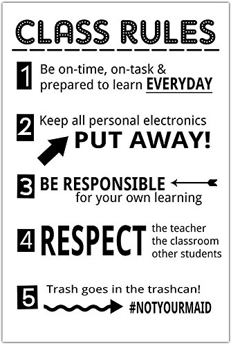 Class Rules Junior High Middle School Classroom Poster