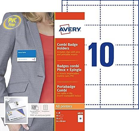 1f6afa87c2eda Avery - 4820 - 50 badges combi pince métal+épingle - plastique souple  transparent+ 50 inserts micro perforés imprimables en planche A4 - 54x90 mm