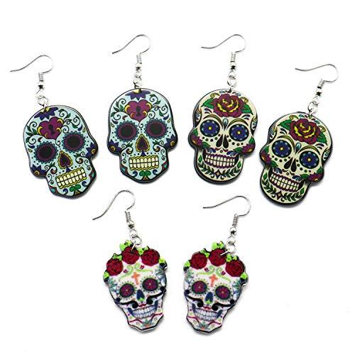 (IDS 3 Pairs Sugar Skull Earrings Set for Women, Nickel Free Sugar Skull Earrings Fish)