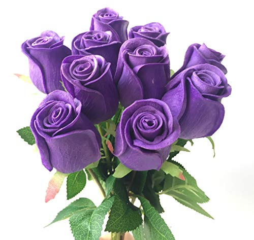 10pcs Real Touch Rose Simulated Fake Latex Roses 43cm for Wedding Party Artificial Decorative Flowers (purple)