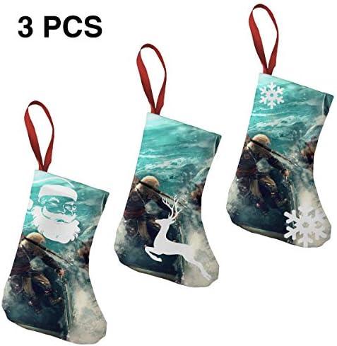 クリスマスの日の靴下 (ソックス3個)クリスマスデコレーションソックス アサシンホオジロザメ クリスマス、ハロウィン 家庭用、ショッピングモール用、お祝いの雰囲気を加える 人気を高める、販売、プロモーション、年次式